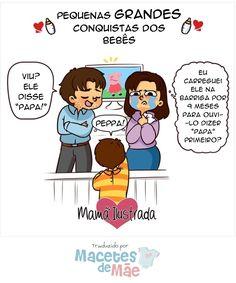 A primeira palavra do bebê. Mom, Comics, Children, Funny, First Time Moms, Funny Mom Stuff, Chistes, Motherhood Humor, Pregnancy Humor