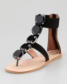San Remo Suede Crystal-T Sandal, Black by Jeffrey Campbell at Neiman Marcus.