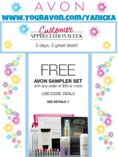 #CustomerAppreciation week continues!! #FREE sample set with $50 purchase #todayonly!  Use #code: DEAL3 #beauty #makeup #skincare #ANEW #Avon #AvonLady #deals #shopping #lipstick #mascara #beautyforapurpose