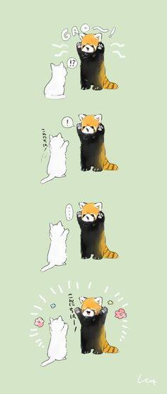 Cute Kawaii Drawings, Cute Animal Drawings, Animal Sketches, Cute Kawaii Animals, Cute Baby Animals, Funny Animals, Red Panda Cute, Cute Cat Gif, Cute Cats And Dogs