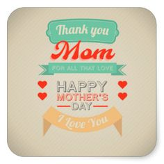 Happy Mother's day typography design Square Stickers