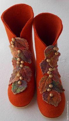 """Kúpiť topánky Home """"jeseň"""" - červená, handmade topánky, červená farba, páde"""