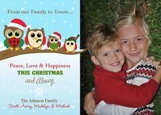 Holiday Owl Family Photo Christmas Card  by PartyPopInvites