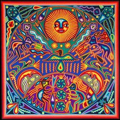 Vision of Huichol Shaman Eating Peyote Mandala South American Art, Yarn Painting, Talavera Pottery, Psy Art, Aztec Art, Bd Comics, Chicano Art, Popular Art, Mexican Folk Art