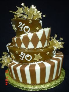 Cake for a guy celebrating his 40 year old birthday!..Buttercream finish..details in fondant..Stars dusted  in gold and gold dragees!..Hope you enjoy!..
