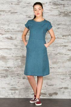 Teal azul vestido de lino ropa de lino vestido de lino azul