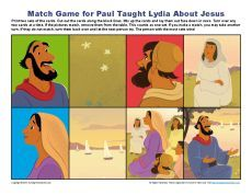 Children's Bible Matching Game Activity - Paul Taught Lydia About Jesus