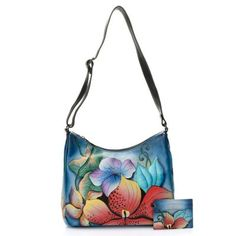 17823857e84 Anuschka Hand-Painted Leather Zip Top Shoulder Bag w  Card Case Hand Painted