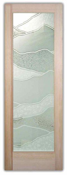 Interior Glass Doors - Etched Glass Interior Door - Abstract Hills II -  Brighten the look with a beautiful interior glass door featuring a custom frosted glass door design by Sans Soucie!