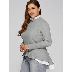 Plus Size Ruffled Peplum Sweater   #plussize #diva #sweaterstyle #americanstyle #womenofstyle #everydaystyle #fashionlove #FindMyStyle #fashionista #followme #girlystyle #killerstyle #new #styleme #stylemepretty #timelessstyle #allshapedbeauty #plusstyle