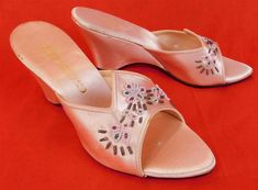 Vintage Chandler's Pink Satin Beaded Wedge Heel Mule Slipper Shoes Size 8 B   #fashion #clothing #shoes #accessories #vintage #womensvintageshoes (ebay link)