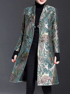 Plus Size Elegant Long Sleeve Floral Stand Collar Jacquard Coat Iranian Women Fashion, Muslim Fashion, Modest Fashion, Hijab Fashion, African Fashion, Fashion Dresses, Couture Fashion, Look Fashion, Womens Fashion