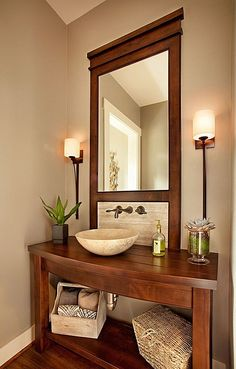 Laminate, Contemporary, Craftsman, Vessel, Powder/Half Bath, Wall sconce
