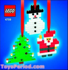 Three Christmas Ornaments - Santa, Tree and Snowman