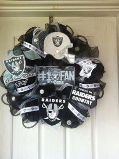 Oakland Raiders Deco Mesh Wreath by SissyGirlsCreations on Etsy