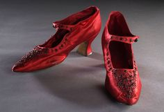 Pair of red silk beaded ladies shoes, 1905.