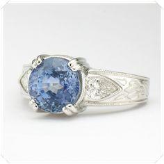 Custom Ring = Sapphire + Diamonds + Platinum + Hand-engraved = wow #ithaca For You Blue, Sapphire Diamond, Hand Engraving, Photo Poses, Color Splash, Custom Design, Diamonds, Rings, Jewelry
