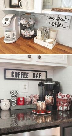 Indicate a small coffee bar by a wall quote made from reclaimed wood. - Svitlana Merk - Indicate a small coffee bar by a wall quote made from reclaimed wood. Home Decor: Indicate a small coffee bar by a wall quote made f. Decor, Interior, Coffee Bar Home, Kitchen Decor, Home Decor, Bars For Home, Apartment Decor, Home Coffee Stations, Home Kitchens