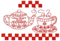 Redwork Rose Victorian Girls of the Month Machine Embroidery Collection