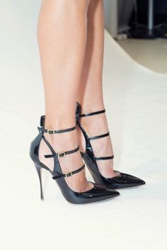 Black Patent Triple Strap Cut-Out Heels