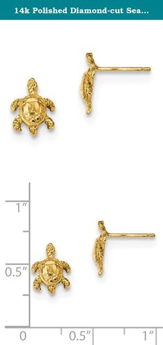14k Polished Diamond-cut Sea Turtle Post Earrings. Product Description Material: Primary - Purity:14K Finish:Polished Length of Item:11 mm Feature:Solid Manufacturing Process:Casted Material: Primary:Gold Width of Item:8 mm Product Type:Jewelry Jewelry Type:Earrings Sold By Unit:Pair Texture:Diamond-cut Material: Primary - Color:Yellow Earring Closure:Post & Push Back Earring Type:Themed Items per Pack:2.