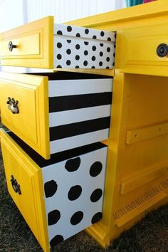 ⬆ Insanely Smart Creative and Colorful Upcycling Furniture Projects. vintage upcycle upcycling diy handmade recycling recycle reuse art design useful Furniture Projects, Furniture Makeover, Home Projects, Desk Makeover, White Desk With Drawers, Yellow Drawers, Diy Casa, Repurposed Furniture, Funky Furniture