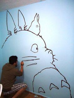 My children will have Totoro painted on their wall like this. Heck, I might even… My children will have Totoro painted on their wall like this. Heck, I might even do it for my own room. Totoro Nursery, Totoro Bedroom, Otaku Room, Ghibli Movies, Howls Moving Castle, My Neighbor Totoro, Hayao Miyazaki, Illustrations, Manga Illustration