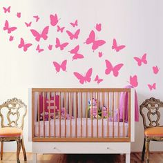 Muurstickers Kinderkamer : Muursticker Vlinders