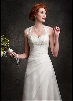 Buy discount Elegant Organza & Lace Queen Anne Neckline A-line Wedding Dresses with Beadings at Dressilyme.com                                                                                                                                                                                 More
