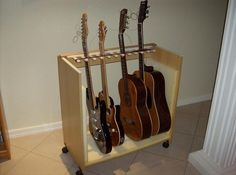 Picture of Multiple guitar stand made out of an old computer table