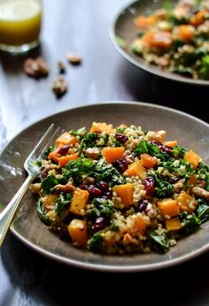 Maple Roasted Butternut Squash and Freekeh Salad with Cranberries and Kale