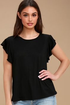 Basically the Best Black Tie-Back Top 3 Trendy Tops, Casual Tops, Trendy Summer Outfits, Best Black, Wardrobe Basics, Basic Tops, Straight Cut, Tie Backs, Black Tie