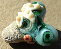 Primitive Handmade Lampwork Glass Bead Heart by Genea on Etsy