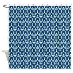 Light aqua damask on dark Navy blue Shower Curtain on CafePress.com