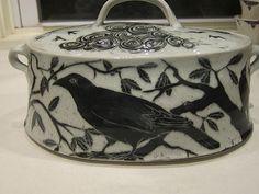 Handmade bird casserole dish by Glynnis Lessing