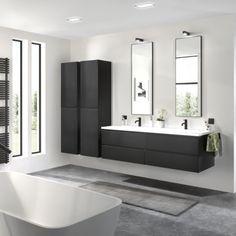 New Bathroom Ideas, Bathroom Inspiration, Modern Bathroom, Small Bathroom, Laundry Room Bathroom, Downstairs Bathroom, Apartment Interior Design, Bathroom Interior Design, Black White Bathrooms
