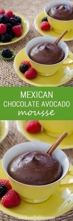 This healthy Mexican  This healthy Mexican chocolate avocado mousse recipe is gluten-free, dairy-free, refined sugar-free and egg-free. ~  cookeatpaleo.com
