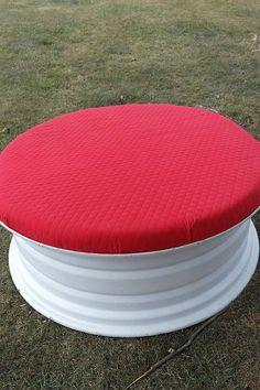repurpose ottomans tractor tire rim, diy, painted furniture, repurposing upcycling, reupholster