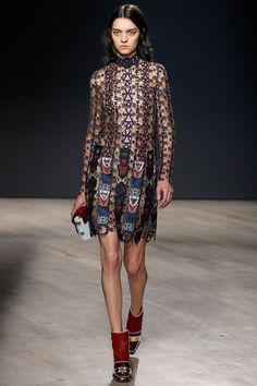 Mary Katrantzou F/W 2014, sheer embroidered dress, boot heels / Garance Doré