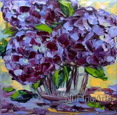 Hydrangea Art Original Oil Purple Blue Flower Floral Impasto Textured Palette Knife Still Life Painting Small Canvas Ready to Hang