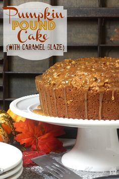 Pumpkin Pound Cake With Caramel Glaze - the cake has a layer of streusel in the middle.