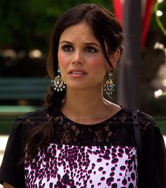 Zoe's pink and black leopard and lace top and round earrings on Hart of Dixie.  Outfit Details: http://wornontv.net/42302/ #HartofDixie