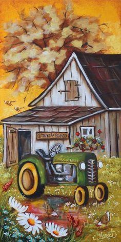 Un petit John Deere Fall Canvas Painting, Canvas Painting Projects, Autumn Painting, Diy Painting, Canvas Art, Watercolor Print, Watercolor Paintings, Stella Art, Cool Car Drawings