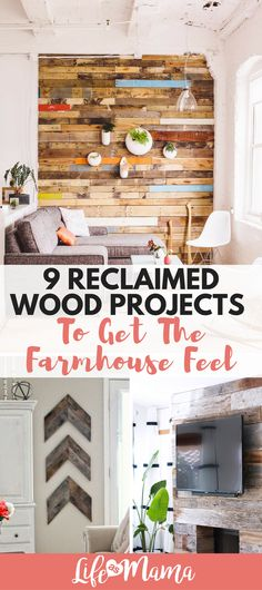 Farmhouse decor uses tons of natural elements, including reclaimed wood and there are lots of ways to incorporate it into your home. Here are some of my favorite reclaimed wood projects. #reclaimedwood #farmhouse #farmhousedecor #DIY #reclaimedwoodDIY