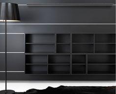 black wall hung shelves