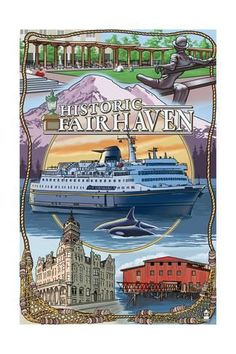 Art Print: Fairhaven, Washington - Montage by Lantern Press : 24x16in