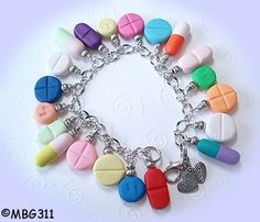 PILL Charm Bracelet Handmade from My Bead Garden by mybeadgarden