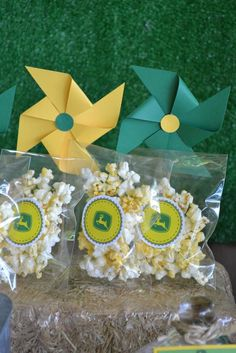 Popcorn snacks at a John Deere tractor birthday party! See more party ideas at CatchMyParty.com!