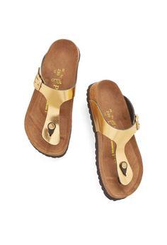 Gold Birkenstock Sandals