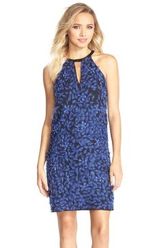 Parker Black 'Sansa' Appliqué Silk Shift Dress available at #Nordstrom